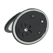 The Olivia Collection Gunmetal Oval Double Compact Mirror With. Crystal Elements