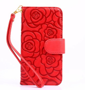 For LG G5 (2016 Version) Flip Folio Wallet Stand Case, Vandot PU Leather Camellia Flower Colourful Pattern Magnetic Closure Shock-Absorbing Practical Hybrid Protective Cover for LG G5 (2016 Version)+ Lanyard Strap-Red
