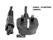Mains Clover Leaf Power Lead UK 3 Pin Plug 10M - FAST POST