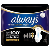 Always Ultra Secure Night Sanitary Towels with Wings Single Pack 9 per pack