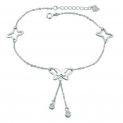Uniqueen Body Jewellery Elegant Sexy 925 Sterling Silver Dangle Butterfly Barefoot Star Shape Foot Anklet for Girls Ladies