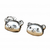 2 Sterling Silver Teddy Bear Charms, Sterling Silver Teddy Bear Beads, Sterling Silver Teddy Charms, 925 Silver Teddy Beads Charms