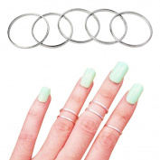 TININNA 5 Pcs Women Ladies Above Knuckle Midi Finger Band Rings Joint Mid Ring Finger Tip Stacking Rings Set Silver