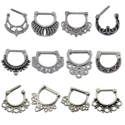 D & Min Jewellery 12pcs 316L Stainless Steel - Vintage Septum Clicker Nose Ring 14g 16g