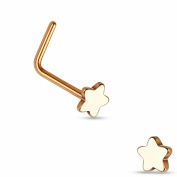 Curved steel star Nose stud with Rose Gold