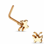 Nose Piercing Curved Steel Butterfly - rose gold