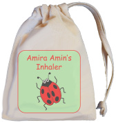 Personalised - Inhaler Bag - Ladybird Design - Tiny Natural Cotton Drawstring Bag - SUPPLIED EMPTY