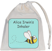 Personalised - Inhaler & Small Spacer Bag - Bumble Bee Design - 14x20cm Cotton Drawstring Bag - EMPTY