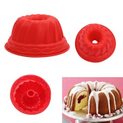 1pcs Non-Stick Fluted Baking Ring Tray Silicone Bakeware Mould Cake Pan Bread Pastry Fondant Tin Baking Mould Tool Home Kitchen Supplies - 23 x 10.5cm