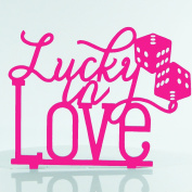 Lucky in Love Proposal Wedding Engagment Decoration Cake Topper Mirror Acrylic Silhouette