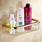 Beelee Wall Mounted 30cm Bathroom Shower Caddy Bath Rectangular Storage Basket Shelf, Polished Gold Finish
