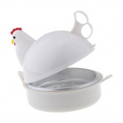 Microwave Egg Boiler ,Silicone Chicken Shape Egg Poacher Boiler Steamer - 4 Egg Capacity, 13cm x 13cm , Home Kitchen Accessories Tool