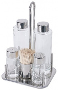 Set 5 Pieces for Oil Vinegar Salt and Pepper Shaker Set with Glass Inserts, Smooth, Frame and Toothpick Holder Made of Stainless Steel 18/10 - ERK