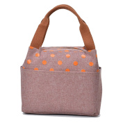 TININNA Cute Polka Dot Insulated Canvas Lunch Bag Tote Bag Lunch Organiser Lunch Holder Lunch Container Handbag for Women Girls Coffee