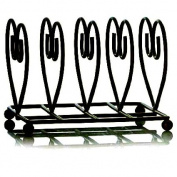 Deluxe Quality Heart Shape Breakfast Table Toast Rack (14 x 11 x 11cm) - Black