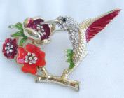 Sindary 5.5cm Pretty Animal Bird Hummingbird Brooch Pin Gold Tone Clear Austrian Crystal UKB2111