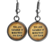 "Wizard of OZ Glinda the Good Witch ""You are Capable of more than you know."" Surgical Steel Earrings"