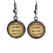 "Alice in Wonderland ""I give myself good advice. But I very seldom follow it."" Surgical Steel Earrings"
