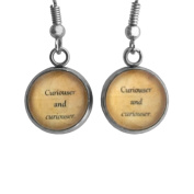"Alice in Wonderland ""Curiouser and Curiouser"" Surgical Steel Earrings"