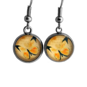 Yellow Butterfly Surgical Steel Earrings
