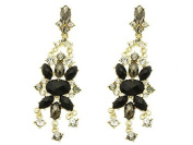 BEYOU Beautiful Things 1 Pair Stainless Steel Earrings Women Gold Plated Delicate Flower Shourouk Gems to length 8.3 cm