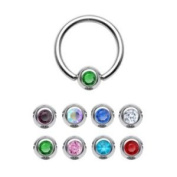 Crystal Ball Closure Ring 1.6 mm - 8 Colours - BCR - Ball Closure Ring - Surgical Steel Piercing Ring In Silver (Stainless Steel) with Crystal Rhinestones