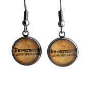 "Edgar Allan Poe ""Nevermore Quoth the Raven"" Surgical Steel Earrings"