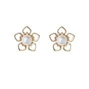 9ct Yellow Gold heart petal flower, 3.5-4mm cultured pearl Andralok stud earrings / Gift box