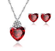 Ladies. Elements Sterling Silver Hear Pendant Necklace + Matching Stud Earrings, Simulated Ruby Red