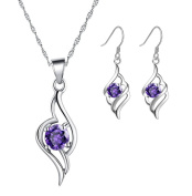 Ladie's Sterling Silver Purple Amethyst CZ Set with Angel Pendant Necklace and Dangle Drop Earrings
