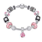 925 Silver Ladies Charm Bracelet with Pink Cubic Zirconia Chain with Flower Pendant 14 mm Diameter