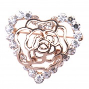 Zrong Elegent Crystal Pretty Heart Brooch Pin for Women Lady Girl