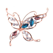 Zrong Elegant Rhinestone Crystal Colour Butterfly Design Wedding Bridal Brooch Pin Xmas Decor