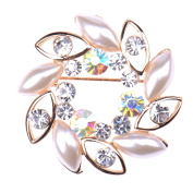 Zrong Women's Blossom Flower Brooch Crystal Rhinstones Pin for Ladies Girls