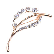 Zrong Pretty Style Elegant Rhinestone Leaf Brooch and Pin for Women