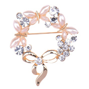 Zrong Women Rhinestone Flower Brooch Pin for Wedding Party