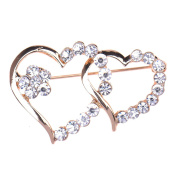 Zrong Elegant Crystal Rhinestone Heart Design Wedding Bridal Pin Brooch Xmas Decor