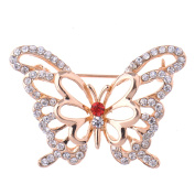 Zrong Elegent Crystal Pretty Butterfly Brooch Pin for Women Lady Girl