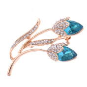 Zrong Elegent Crystal Pretty Flower Brooch Pin for Women Lady Girl