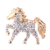 Zrong Elegant Crystal Rhinestone Horse Design Wedding Bridal Brooch Pin Xmas Decor