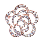 Zrong Elegant Crystal Rhinestone Flower Design Wedding Bridal Brooch Pin Xmas Decor