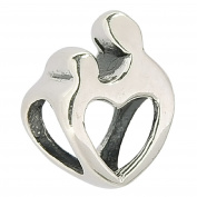 Shining Charm Love Heart 925 Sterling Silver Mother Daughter Charm Bead Fit European Charm Bracelets