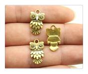 6pcs 20*11mm antique gold owl charms