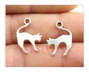 6pcs 19*14mm antique silver colour cat charms