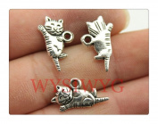 6pcs 20*12mm antique silver cute cat charms