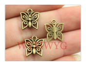 6pcs 14*12mm antique bronze plated butterfly charms