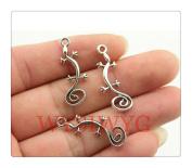 6pcs 29*11mm antique silver gecko charms
