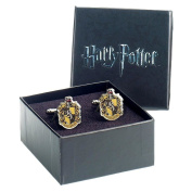 Official Harry Potter Hogwarts Hufflepuff Crest Silver Plated Cufflinks - Boxed