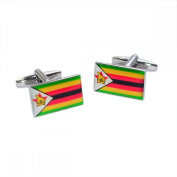 Mens Shirt Accessories - Zimbabwe Flag Cufflinks (With Black Presentation Box) - Novelty World Flag Theme Jewellery