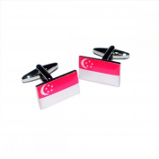 Mens Shirt Accessories - Singapore Flag Cufflinks (With Black Presentation Box) - Novelty World Flag Theme Jewellery